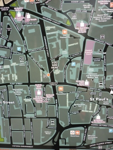Map of area around the Central Criminal Court